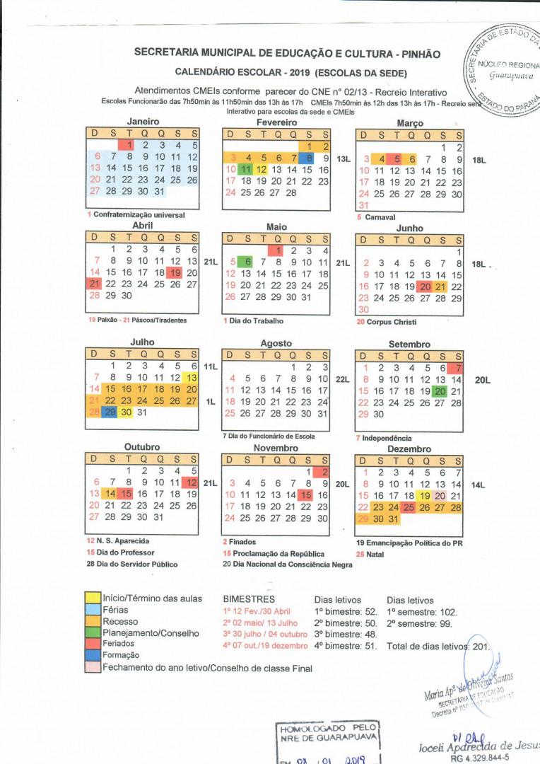 Calendario.Pinhao Secretaria Da Educacao Divulga Calendario Escolar Para 2019